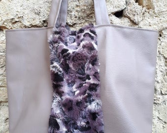 faux grey leather and fur bag