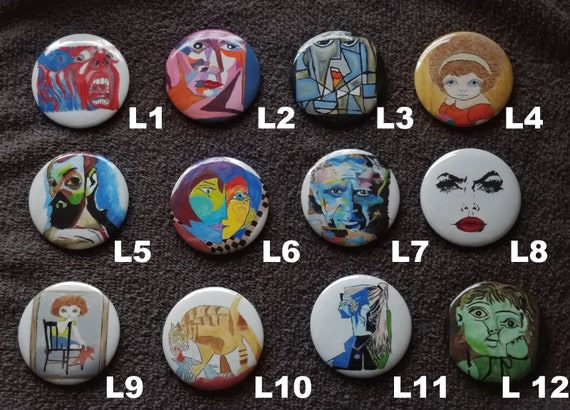 Hand painted Mars buttons