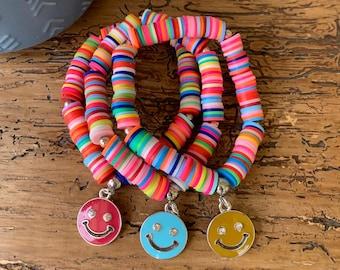 Rainbow Heishi Bracelet, Stacking Bracelet, Custom, Stack, Friendship Jewelry, Smiley Face Bracelet