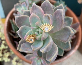 Gold Cubic Zirconia Evil Eye Stud Earrings, CZ Earrings, Evil Eye Stud Earrings