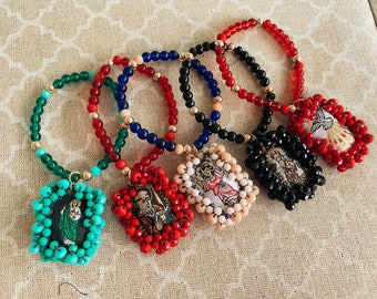 Scapular Beaded Bracelet, Escapulario Bordado, San Benito, Virgen del Carmen, San Judas, Espíritu Santo, Santo Niño