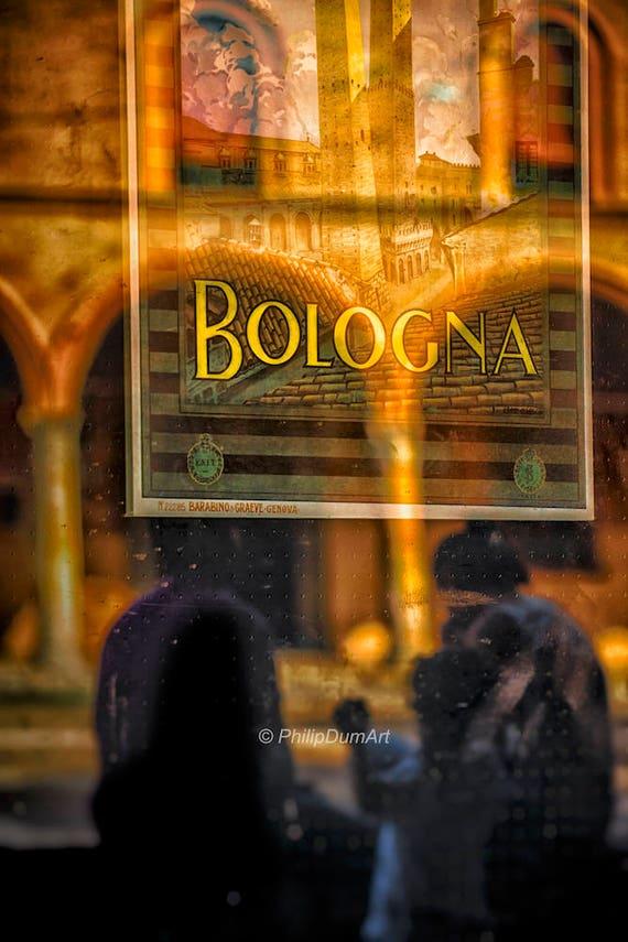 Affiche Bologne Ville Italienne Reflexion Arcades