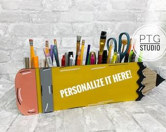 Teacher gift, personalized gift, pencil desk organizer, 3D laser cut desk organizer, pencil organizer, teacher name, teacher's desk caddy