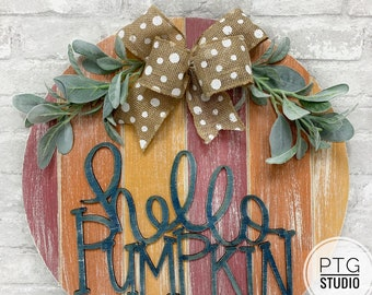 Hello pumpkin door hanger, fall decor, door hanger, pumpkin decor