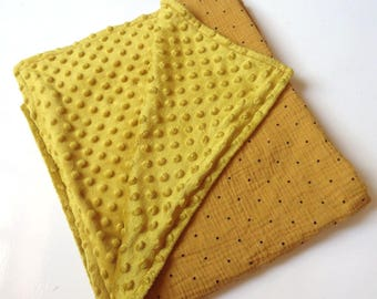 Cover, quilt, blanket, Playmat, cloth diaper baby mustard blanket, minky, curry, linen crib blanket