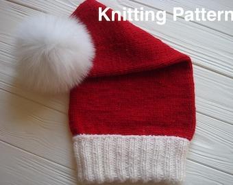 Santa Claus Style, Knit Hat Pattern.