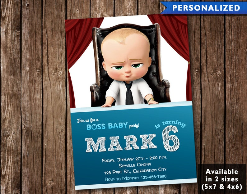 The Boss Baby Movie Birthday Invitation