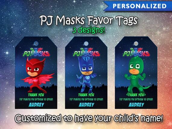 PJ Masks Thank You Tags Favor Birthday Pj Card Printable Digital File
