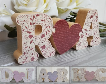 Small wood puzzle initials with heart, choose your own letters, Freestanding puzzle linked initials. Wedding, engagement, birthday gift.