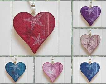 Christmas hanging heart decoration, Pine wood handcrafted tree hangers, Decoupage Christmas heart with bead detail