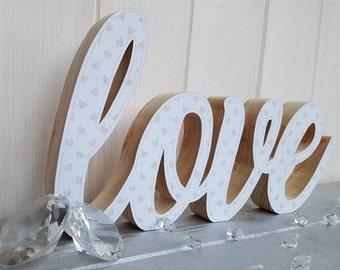 Wooden love sign, handcrafted freestanding love, wedding decor, decoupage wood block love