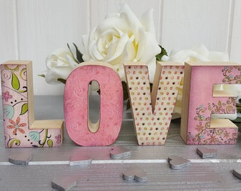 Small wood decoupage letters, Standing wood block LOVE sign, Handcrafted pine letters with pearl embellishments