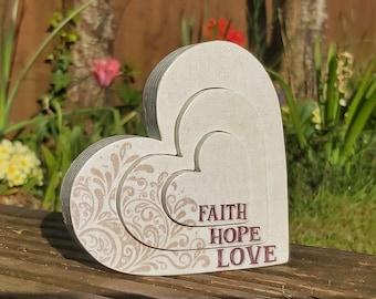 Faith Hope Love freestanding interlocked wooden hearts, 1 Corinthians 13:13 decoration