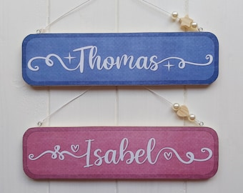 Personalised wooden name plaque, Bedroom door sign, Pine boy or girl door name hanger