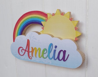 Small wooden rainbow, sun and cloud name plaque, Bedroom sign, Personalised colourful name plate, Boys Girls nursery wall or door hanger