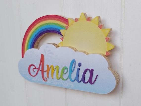 Nursery shiplap Girls Custom rainbow sunshine wooden  Name Sign Floral Round Sign Boho nursery decor Baby Name Sign