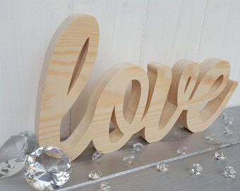 Pine wood love sign, handcrafted freestanding love, swirly love letters, wedding love decor, wood block love