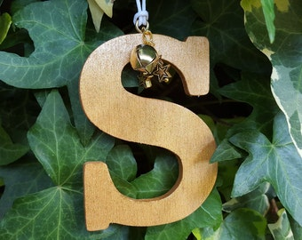 Gold painted hanging wooden letters with gold star and bell embellishment, Birch plywood letter tree decorations,