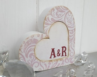 Wood block hearts with initials, personalised heart decoration, Decorated painted wooden hearts, Freestanding love hearts