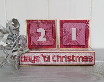 Countdown to Christmas small wood blocks, pine decoupage wooden Advent Calender number blocks, handcrafted Chrismas cube countdown