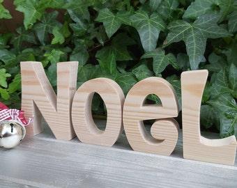 Pine wood block Noel letters, decorative Christmas Noel sign, Freestanding handcut wooden Noel letters, Christmas nativity letters