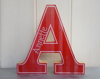 Freestanding wood letter, Personalised initial with name, Home decor, Handcrafted decoupage wood letter