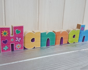 Colourful wooden name plaque, Small freestanding wood decoupage desk name, Bright wooden personalised name decoration