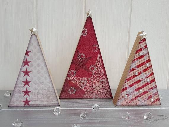 Wooden Decoupage Christmas Red Tree Trio Three Festive