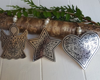 Christmas hanging silver foil wooden star, heart, angel decorations, Pine wood handcrafted tree hangers with bead decorations