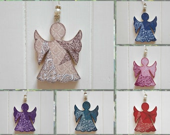 Christmas hanging angel decoration, Pine wood handcrafted tree hangers, Decoupage Christmas angel with bead detail