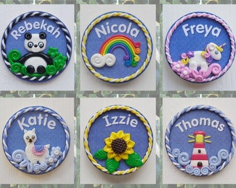 Personalised polymer clay decorated name badge, Fimo name brooch, Birch ply hand made clay name pin