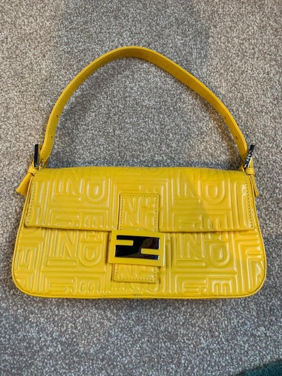 GENUINE RARE Fendi Yellow Quilted Logo Baguette Ba
