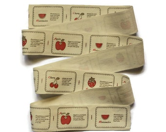 Fruit Zakka Ribbon. Crafty Projects. Cotton Ribbon. Hues of Beige, Dark Brown, and Red.