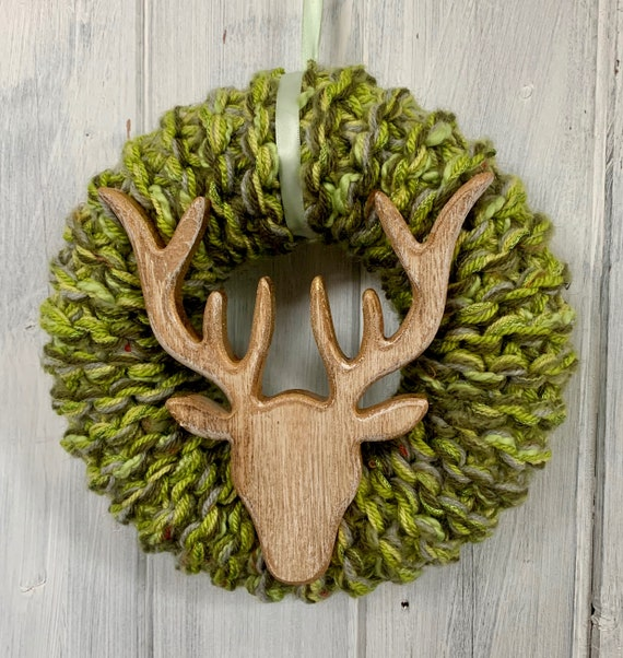 Large Green and Gold Wooden Stags Head Christmas Wreath