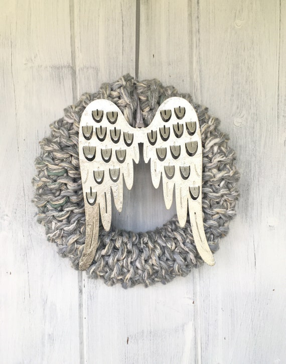 20cm Knitted Angle wing Wreath
