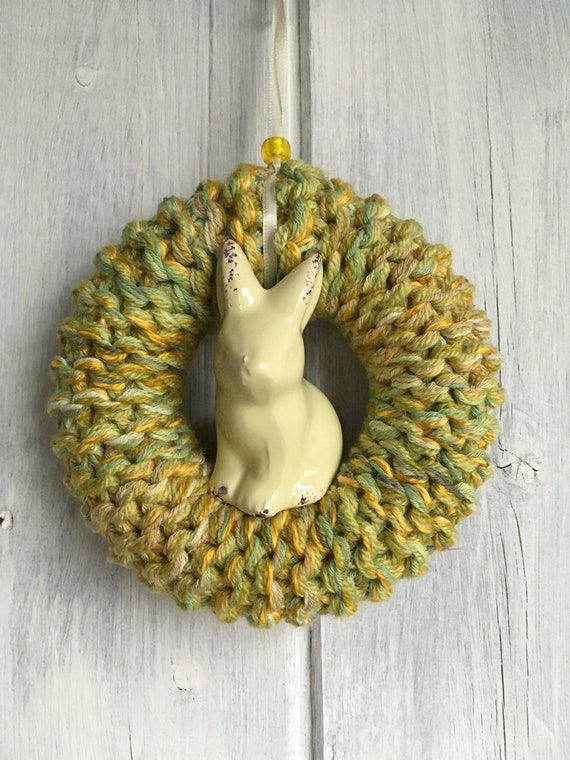 Knitted Easter Decoration Green Bunny