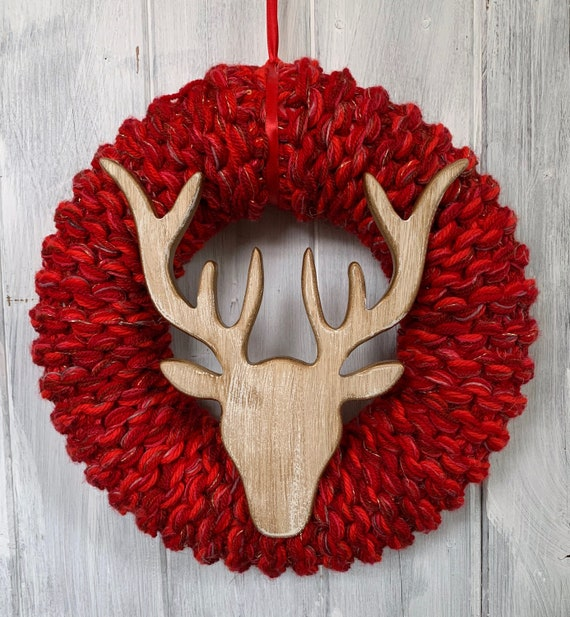 XL Red and Gold Stags Head Christmas Wreath