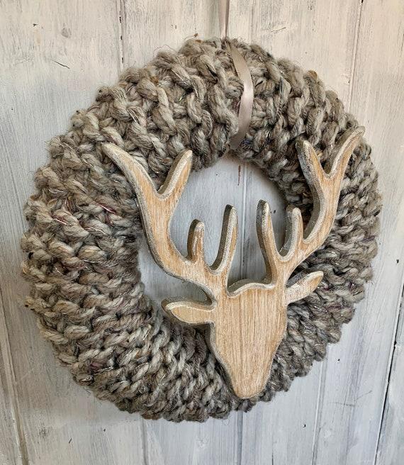 XL Silver Grey Stags Head Christmas Wreath