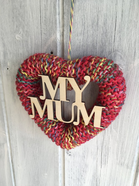 Knitted Heart Happy Mothers Day