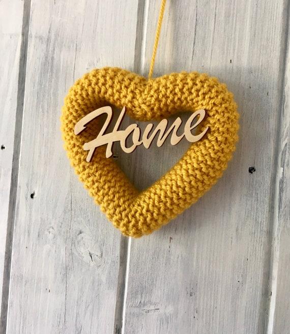 Knitted Heart Mustard Yellow