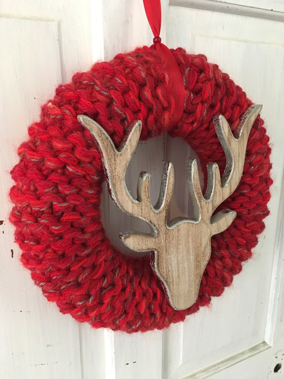 Made to order 35cm Knitted Red Christmas wreath with wooden stags head.