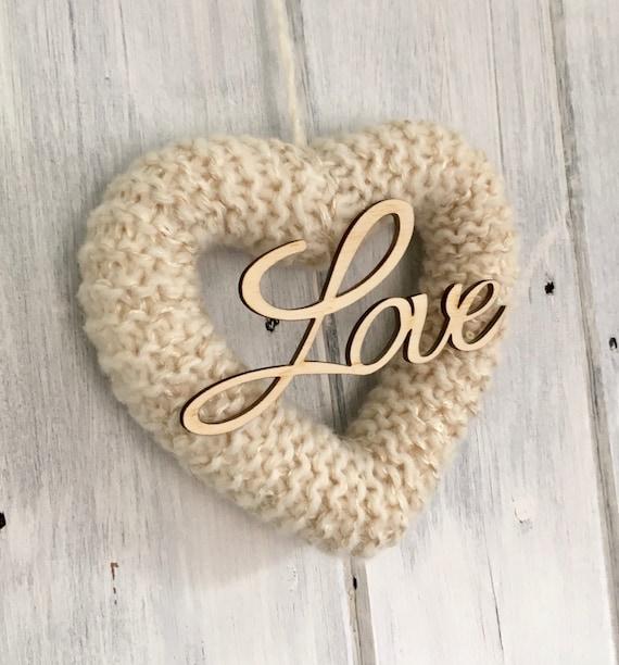 Knitted  Wedding Heart Cream