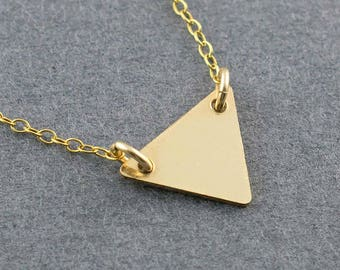 Simple Gold Necklace, Gold Triangle Necklace, Cute Gold Necklace