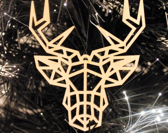Plywood Christmas Tree Decorations Pack of 3 Geometric Stag Reindeer Contemporary Design Hanging Baubles shatterproof eco friendly