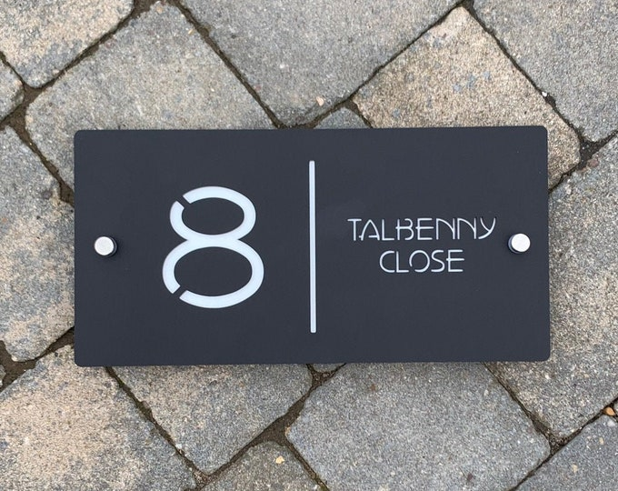 30cm x 15cm Contemporary House Number Door Sign Landscape Original & Unique Laser Cut Bespoke/Customised with Road Name
