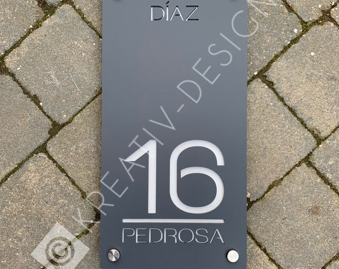 Extra Detail 20 x 40 cm Bespoke House Number Door Sign Unique Laser Cut Customised with Number, Road Name and House or Family Name