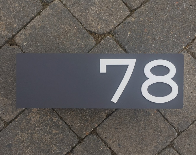 30 x 10 cm 3D Modern House Number Door Sign Laser Cut Matte Acrylic With Invisible Floating Wall Fixings