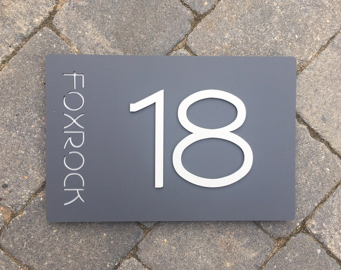 Modern 3D House Number Door Sign,  Original & Unique Laser Cut Bespoke Sign Customised with Road or |House Name