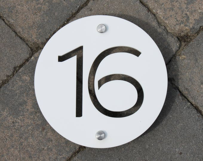 Modern House Number Door Sign 150mm x 5mm Original and Unique plaque Bespoke Laser Cut Design