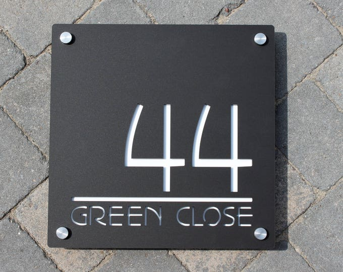 Contemporary House Number Door Sign. Square  30cm x 30cm plaque personalised with Numbers and Road or House Name